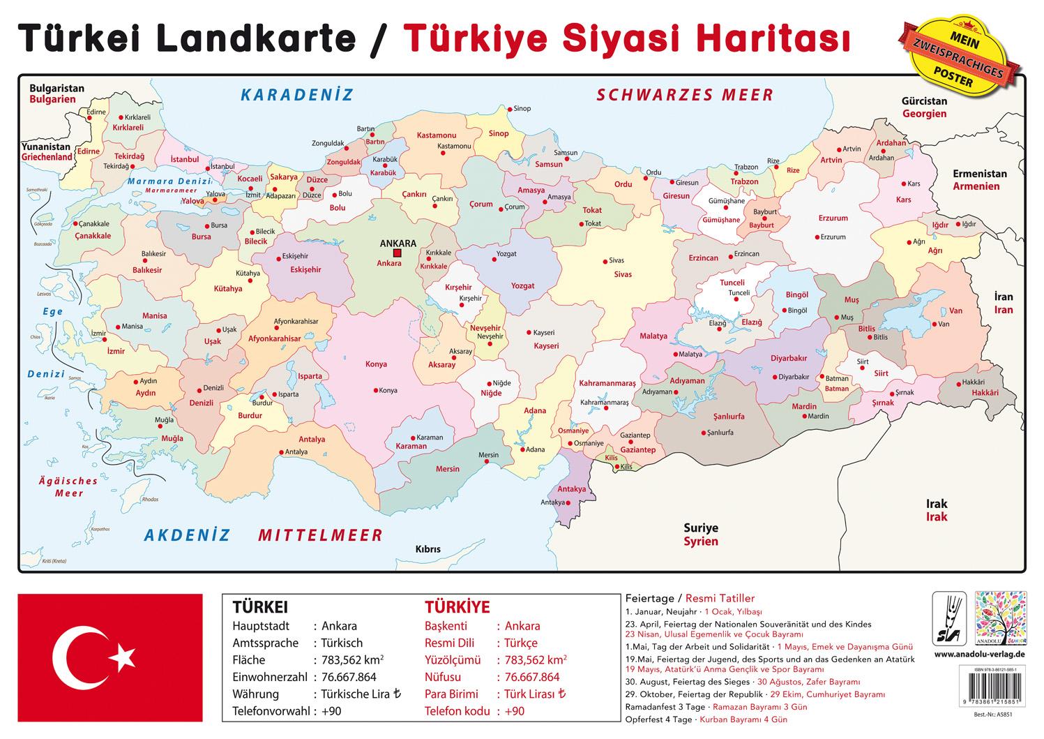 Türkei Landkarte / Türkisch